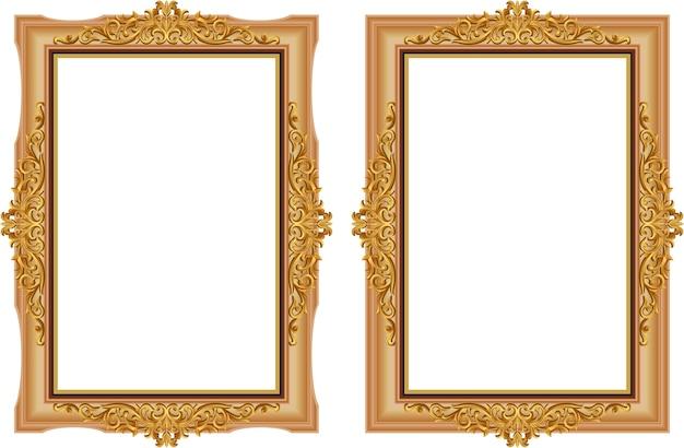 Décoratif vintage de cadre photo en bois avec coin thaïlande ligne floral pour image