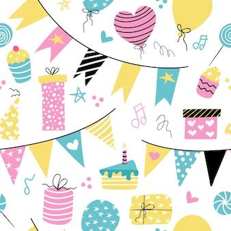 Décoration d'anniversaire ballons gâteaux cadeaux drapeaux de vacances modèle sans couture de vecteur sur fond blanc