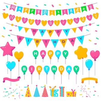 Décoration d'anniversaire avec ornements colorés