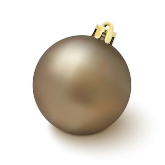 Décoration d'arbre de noël sur fond blanc. boule de noël dorée. illustration.
