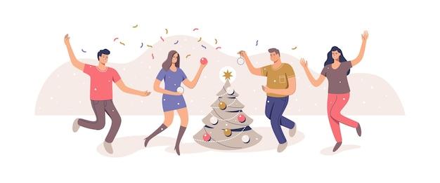 Décoration d'arbre de noël préparation pour la fête de noël illustration vectorielle