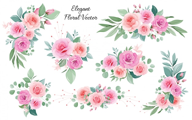 Décoration d'art floral de pêche et de roses blush, feuilles, branches