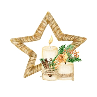 Décoration en bois de style bohème étoile de noël avec bougie. illustration de nouvel an aquarelle hiver
