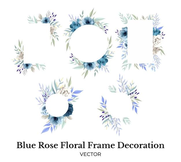 Décoration de bouquet de cadre de fleur rose bleu