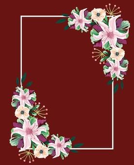Décoration de cadre aquarelle fleurs élégantes