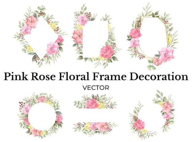 Décoration de cadre de bouquet de fleurs rose rose