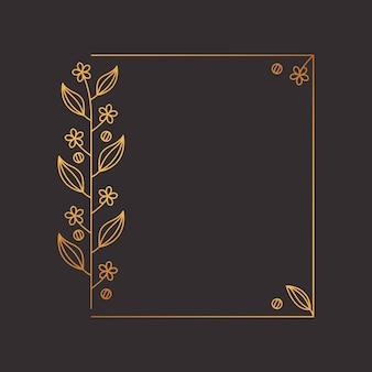 Décoration de cadre de fleur de couronne de laurier carré