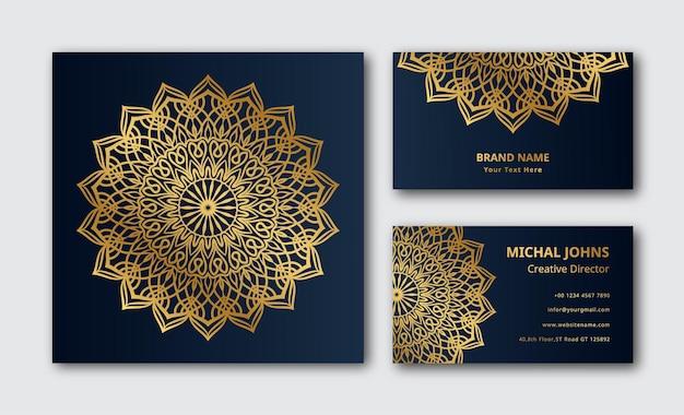 Décoration de carte de visite dorée mandala de luxe fond de vecteur premium