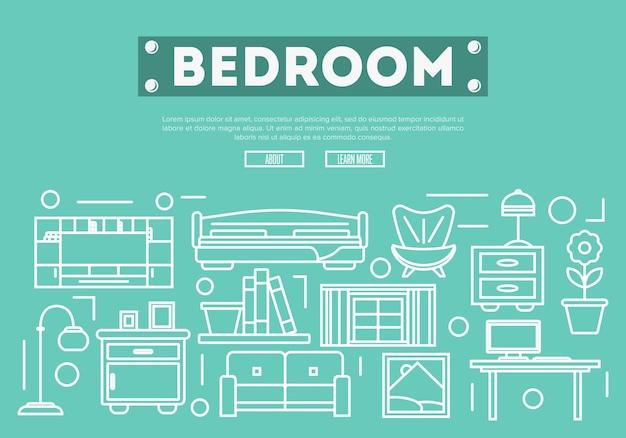 Décoration de chambre à coucher dans un style linéaire