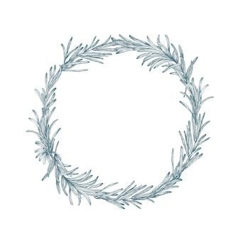 Décoration circulaire ou couronne de romarin dessinés à la main avec des lignes de contour sur blanc