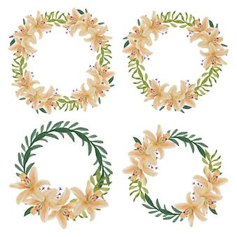 Décoration de couronne de cercle de fleur de lys aquarelle