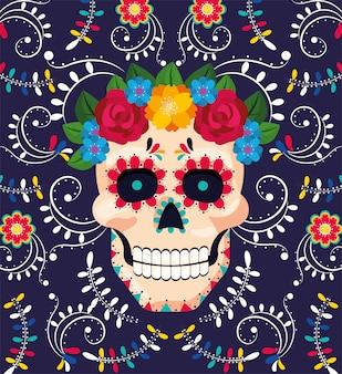 Décoration de crâne d'homme avec des fleurs à l'événement mexicain