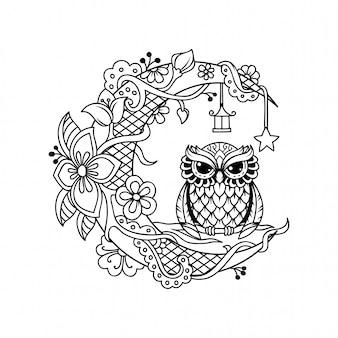 Décoration de croissant de lune avec illustration de fichier coupe hibou