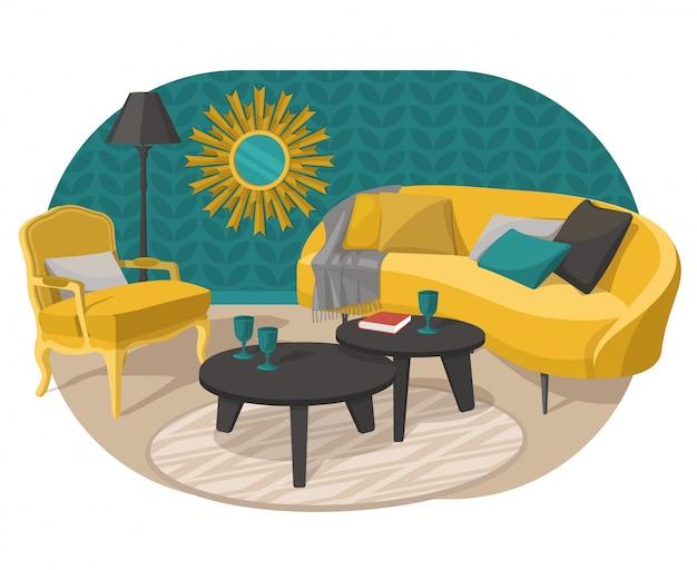Décoration de design d'intérieur de style scandinave, illustration plate.