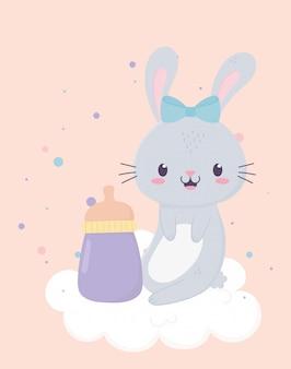 Décoration de dessin animé de carte de bouteille de petit lapin