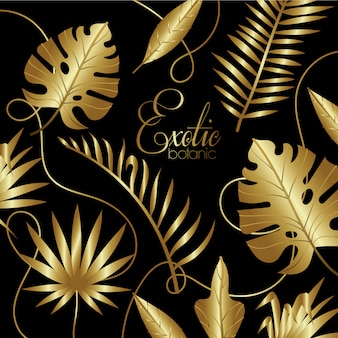 Décoration dorée en botanique exotique de luxe