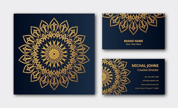 Décoration Dorée De Mandala De Luxe Fond De Carte De Visite Vecteur Premium Vecteur Premium