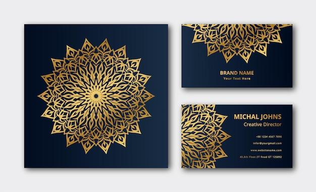 Décoration dorée de mandala de luxe fond de carte de visite vecteur premium