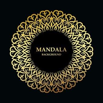 Décoration dorée de mandala de luxe fond de vecteur premium