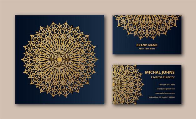 Décoration dorée de mandala de luxe vecteur premium eps