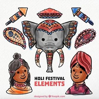 Décoration du festival holi dans le style d'aquarelle