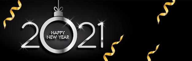 Décoration élégante bonne année 2021 sur fond noir