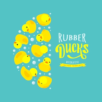 Décoration faite de canards en caoutchouc jaune