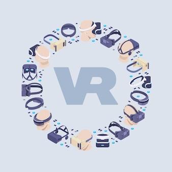 Décoration faite de casques de réalité virtuelle isométrique