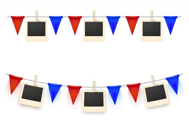 Décoration de fête avec une guirlande de drapeaux et d'images isolées