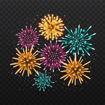 Décoration de feux d'artifice de nouvel an isolé sur fond noir