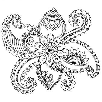 Décoration de fleur de mehndi dans le style ethnique oriental, indien. ornement de doodle. décrire l'illustration du dessin à la main.