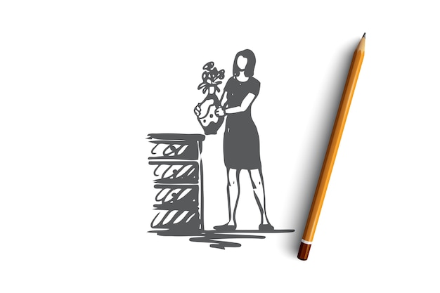 Décoration, fleurs, femme, maison, concept cosy. femme dessinée à la main avec des fleurs dans l'esquisse de concept de vase. illustration.