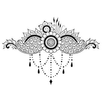 Décoration de fleurs mehndi dans un style oriental ethnique. ornement de doodle. décrire l'illustration du dessin à la main.