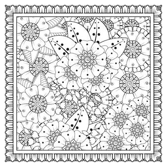 Décoration de fleurs mehndi en doodle de style indien oriental ethnique