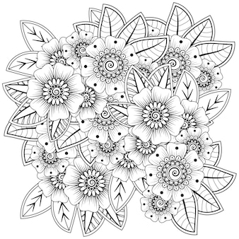 Décoration de fleurs mehndi ornement décoratif en coloriage de style oriental ethnique