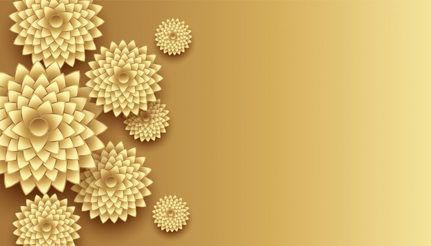 Décoration de fleurs d'or 3d avec fond d'espace de texte