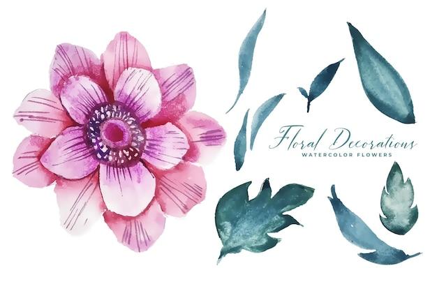Décoration florale aquarelle avec collection d'éléments de feuilles
