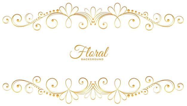 Décoration florale dorée sur fond blanc