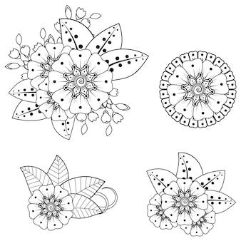 Décoration florale mehndi dans un style ethnique oriental, indien. ornement de griffonnage. illustration de dessin de main de contour. page de livre de coloriage.