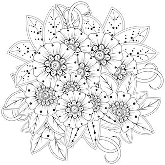 Décoration florale mehndi en ethnique oriental