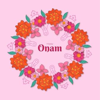 Décoration florale onam dessinée à la main