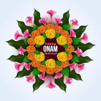 Décoration florale onam réaliste