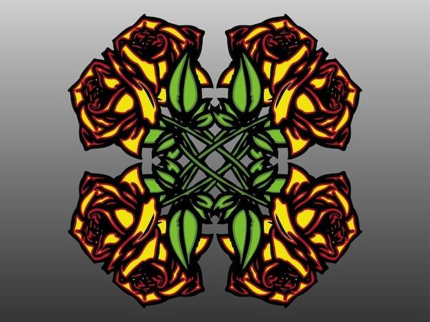Décoration florale symétrique