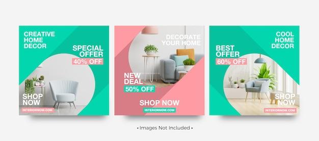 La décoration intérieure offre des modèles de publication instagram