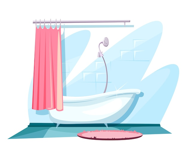 Décoration intérieure de salle de bain avec baignoire en céramique