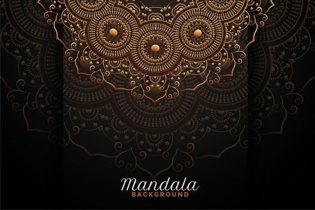 Décoration de mandala de luxe sur fond noir