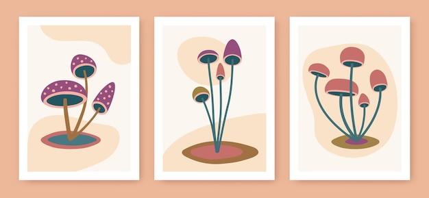 Décoration murale abstraite d'art de champignon minimaliste