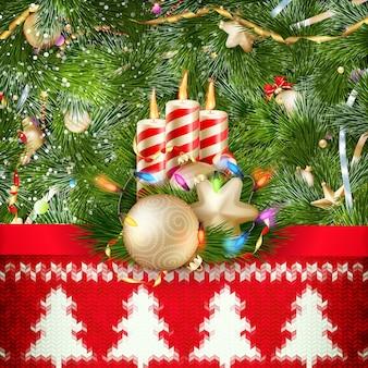 Décoration de noël du nouvel an. modèle de noël sur fond tricoté. illustration pour le jour de l'an, noël, vacances d'hiver, réveillon du nouvel an, silvester, etc. fichier inclus