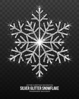 Décoration de noël flocon de neige argenté fond transparent