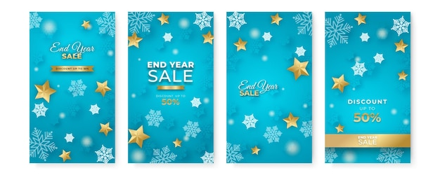 Décoration de noël d'hiver pour les soldes de fin d'année et de nouvel an. modèle de meida sociale d'histoire de noël. noël d'hiver avec ballon, étoile et flocon de neige.